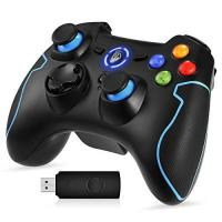 Gamepad [Sonderangebot] EasySMX ESM-9013 2.4G Wireless Gaming Controller Kabelloses Gamepad für PC / PS3 für Windows / Android BFM / Android Handy (via OTG) mit X-Input und Direct-Input, Vibrationsfunktion und Schnellfeuerfunktion (Nicht kompatibel mit XBOX) (Schwarz+Blau)